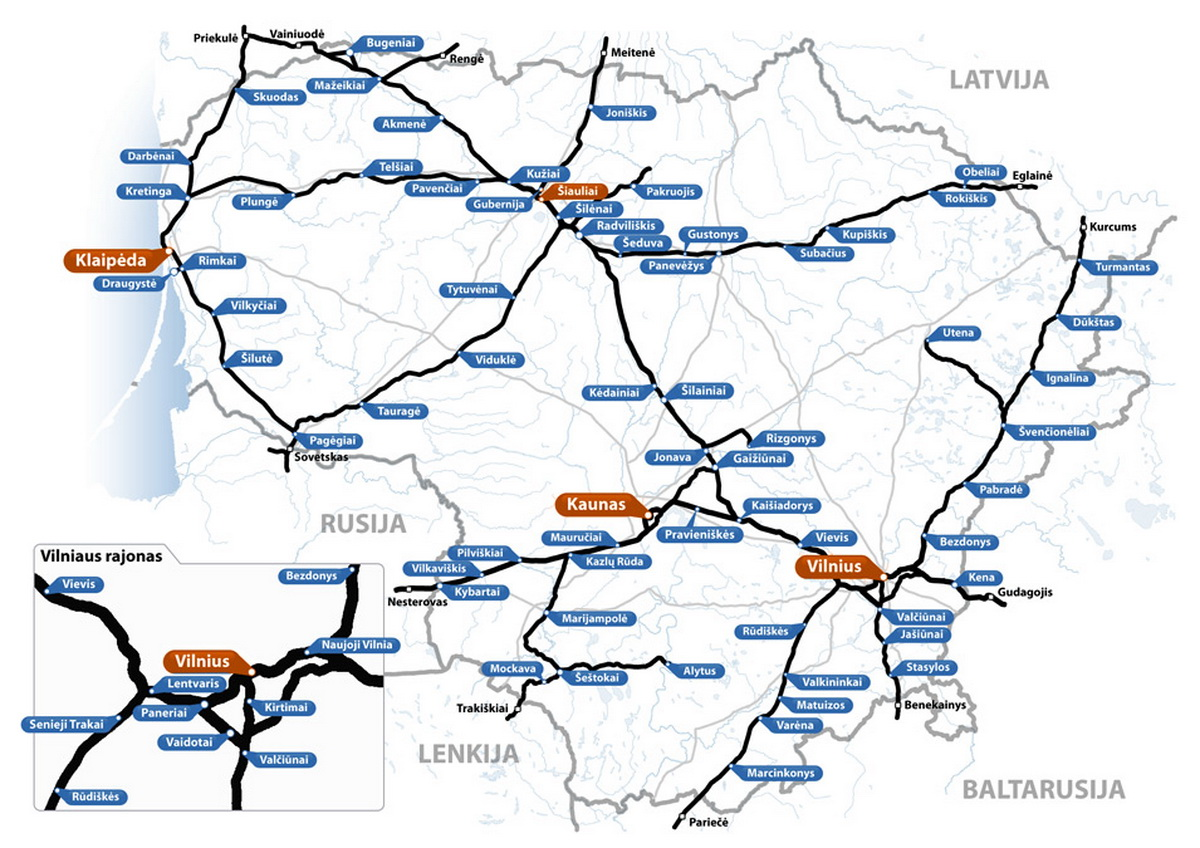 Map of the Lithuanian Railways